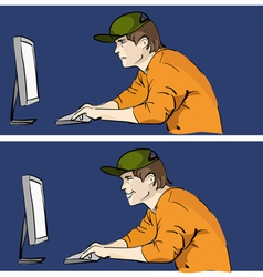 Young man worcking on pc vector