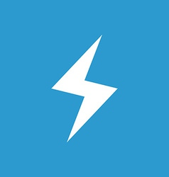 Lightning icon white on the blue background vector