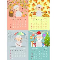 Flat design lamb calendar vector