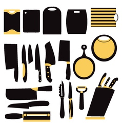 Kitchen collection of knifes and cutting boards vector
