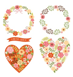 Floral wreath and heart vector