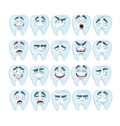 Cute smile healthy teeth with different emotions vector