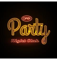 Neon sign disco party night club vector