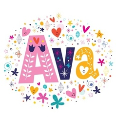Ava female name decorative lettering type design vector