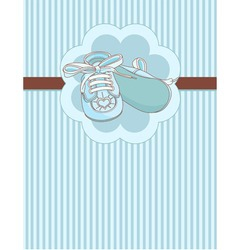 Blue baby shoes place card vector