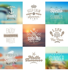 Set of travel and vacation type emblems vector