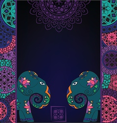 Dark background with elephant and mandalas vector