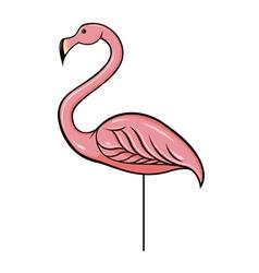 Pink plastic flamingo vector