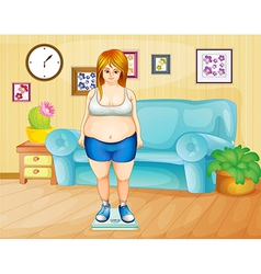 A fat girl weighing her weight inside the house vector