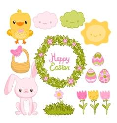 Happy easter set with cartoon cute bunny chicken vector