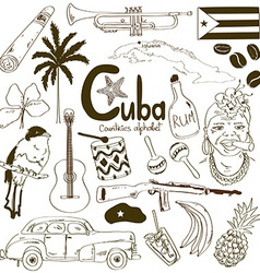 Collection of cuban icons vector