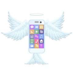 Smart mobile phone flying with wings vector