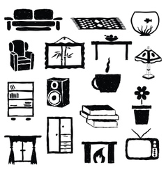 Living room doodle images vector