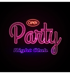 Neon sign disco party night club vector