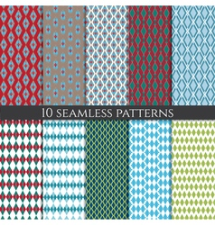 Set of abstract geometric seamless patterns vector