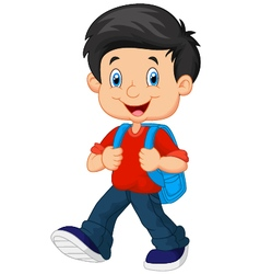 School boy cartoon walking vector