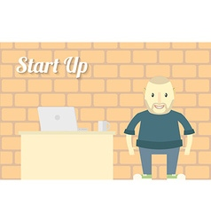Flat design start up background character with vector