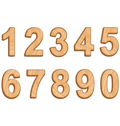 Numerals with texture of wood vector