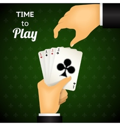 Cartooned hand holding four aces cards vector