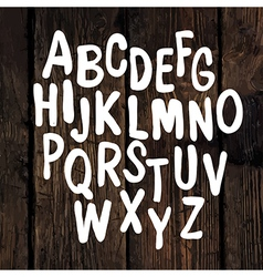 Hand drawn alphabet wooden texture vector