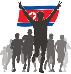 Athlete with the north korea flag at the finish vector