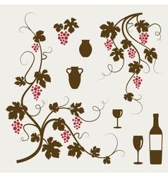 Grape vines wineglasses and decorative elements vector