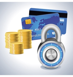 Bright lock and credit card vector