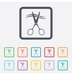 Scissors cut hair sign icon hairdresser symbol vector