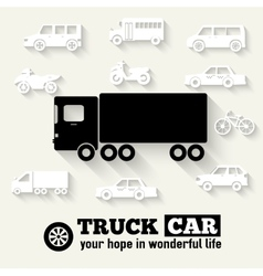 Flat truck car background concept tamplate for web vector