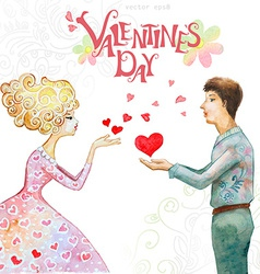 Romantic watercolor greeting card with a cute vector