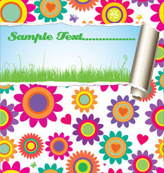 Flower pattern - damaged paper with place for text vector