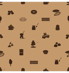 Chocolate icons seamless brown pattern eps10 vector