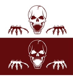 Angry skull with hands vector