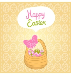 Happy easter background with cartoon cute basket vector