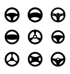 Black steering wheels icons set vector