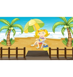 A young girl relaxing at the beach vector