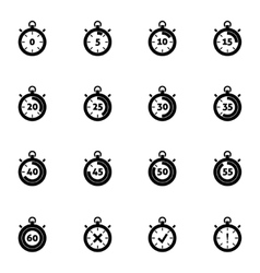 Black stopwatch icons set vector
