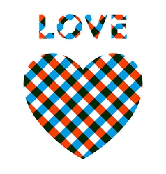 Heart with checker pattern vector