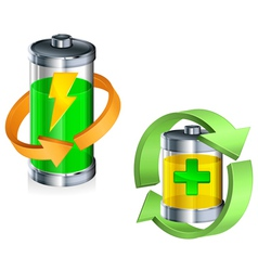 Battery recycling concept color v vector