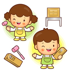 Wood work in the classrooms studying children vector