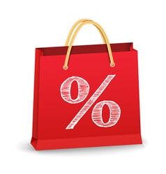 Shopping bag with percent sign vector