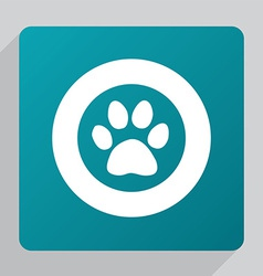 Flat cat footprint icon vector