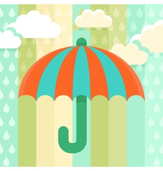 Striped umbrella and rain drops vector