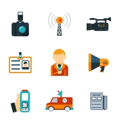 Assorted journalism flat icons vector