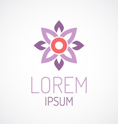 Puprle lotus flower top view geometrical logo vector