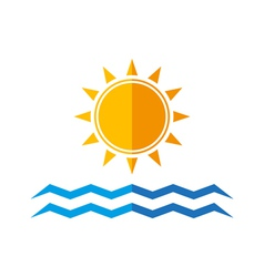 Sun and sea waves vector