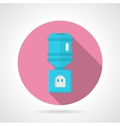 Blue water cooler flat round icon vector