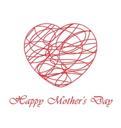 Mothers day card with contoured heart vector