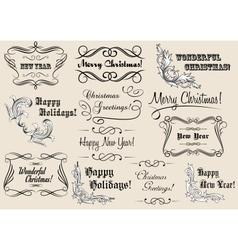 Christmas and new year calligraphic headlines vector