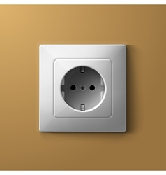 Realistic electric white socket on biege wall vector